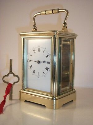Antique French brass carriage clock & key. Complete overhaul/service Nov. 2018