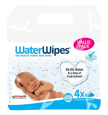 Water Baby Wipes for Sensitive Skin 4 Packs x 60 Wipes Total 240
