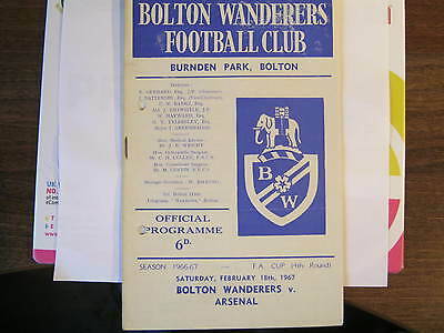 Bolton Wanderers v Arsenal FA Cup 1967 Programme. (D)