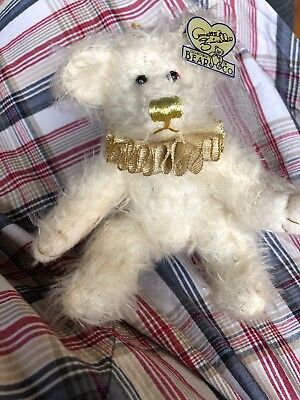 Annette Funicello Annette Funicello White Angel Bear Mint With Tag And Crystal Angel Mini Bear Dolls & Bears