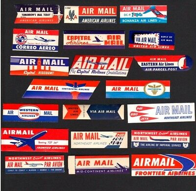 20 DIFFERENT 1948-1965 USA Airline Unused Airmail Labels   *WORLD FREE SHIPPING*