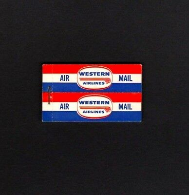COMPLETE BOOKLET 24 Western Airlines 1960 Labels         **WORLD FREE SHIPPING**
