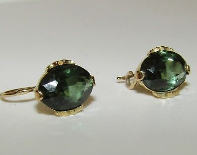 Charming, Antique, 9 Ct Gold Dormeuses Earrings With Green Tourmaline Gems