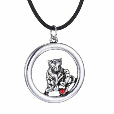 Retro Charm Round Women Animal Tiger Crystal Pendant Necklace Chain Jewellery