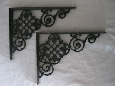 Antique Architectural Cast Iron Wall Shelf Brackets Large Black Pair Tulip Motif