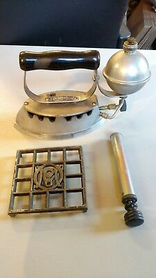 Vintage Antique Akron Lamp Co. Diamond Gas Flat Iron Pump and Trivet