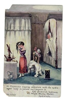 Old Postcard, IPSWICH, White Horse Hotel, PICKWICK Bedroom, Charles Dickens Art