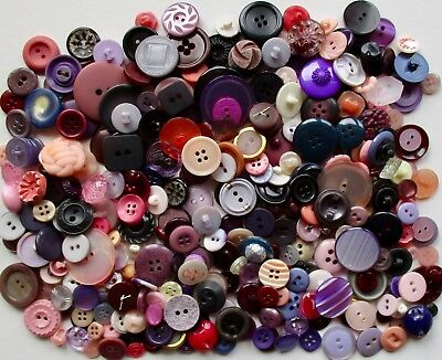 About 350 Vintage Plastic Buttons in Shades of Pink to Peach to Purple