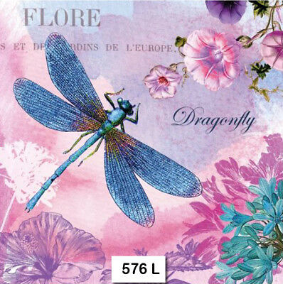 (576) TWO Individual Paper Luncheon Decoupage Napkins - DRAGONFLY, FLOWERS