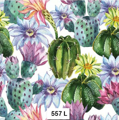 (557) TWO Individual Paper Luncheon Decoupage Napkins - CACTUS, CACTI, TROPICAL