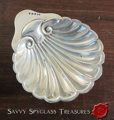 Antique 1912  English Sterling Shell Footed Salt Dish Birmingham