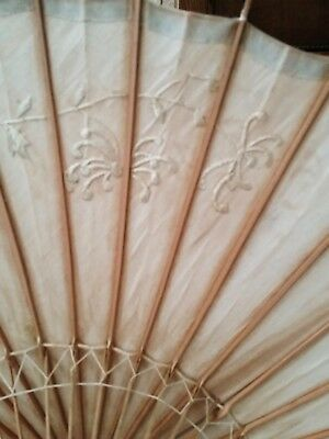 Rare Early 1900's Ladies Ivory Embroidered Silk And Bamboo Parasol Chinoiserie