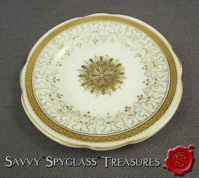 Elegant Antique White & Gold Porcelain Butter Pat Retailed by Burley & Company