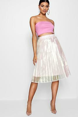 296e86c5ab0 BOOHOO WOMENS WOVEN Irredesent Pleated Midi Skirt -  17.00