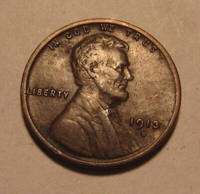 1913 D Lincoln Cent Penny - Extra Fine to AU Condition - 7SU