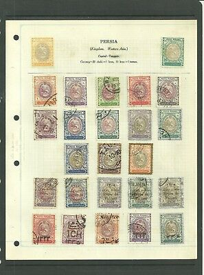Gb Mid East Of Persia 1909 Sun&lion Inc Ovrprts&surcharges Old Album Page / Hcv
