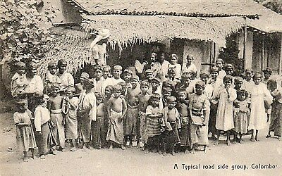 Colombo,Edwardian Posted 1909 Postcard.Typical Roadside Group: See Scans