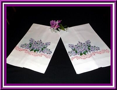 Fabulous Pair Vintage H. Embroidered Pillowcases With Purple Flowers