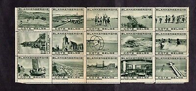 BLANKENBERGHE.c1920s BLOCK x 15 TOURIST PUBLICITY LABELS AS IN PICTURES.M.N.H.