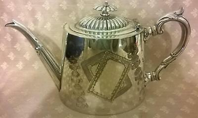 Antique Victorian Silver Plated Teapot Oval Shape Chased design HB