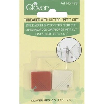 Clover Petite Needle Threader W/cutter-2/pkg