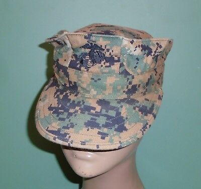 US Military Issue Marine Corps USMC 8 Point Woodland Marpat Cover Hat Cap Sz XS