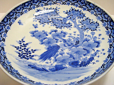 VINTAGE JAPANESE  BLUE and WHITE FOOTED CENTER PIECE BOWL  Hand Painted