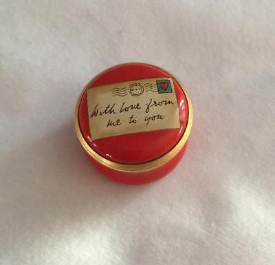"""Halcyon Days Red Enamel Pill Trinket Box """"With love from me to you"""""""