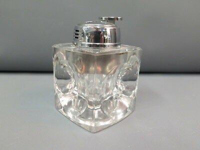 Clear Glass Cube Paperweight Table Re-fillable  Lighter Japan  - Needs Fluid