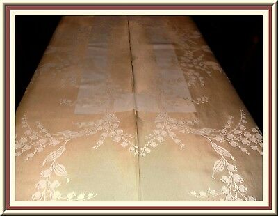 Lovely Vintage Gold Damask Tablecloth Lily Of The Valley Design