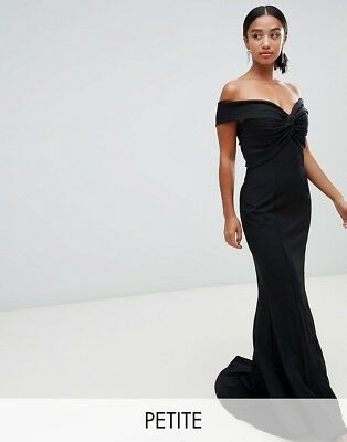 Jarlo Petite Karolina Cross Front And Back Bardot Maxi Dress Black Size 6, £110