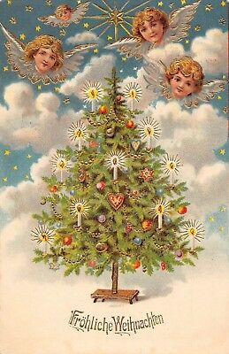 LP65 Angel Christmas Collectible Postcard Holiday Beautiful tree decorations