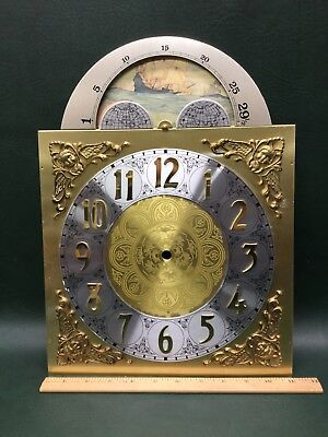 NOS VTG GRANDFATHER Moon Face Clock Dial Steampunk ~ As Is for Parts