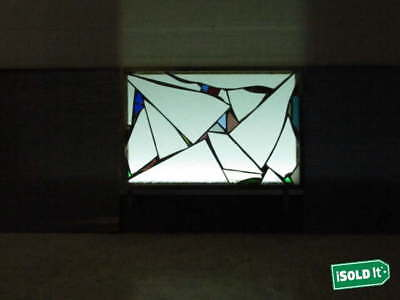 """MOSAIC ABSTRACT STAINED ART GLASS FRAMED WINDOW HANGING DISPLAY 15.25""""x10.25"""""""