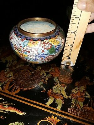 """Antique Vintage Chinese Cloisonne Flower Jar 3"""" China Multi- Colored"""
