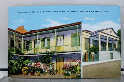 Louisiana LA Beauregard House Courtyard New Orleans Postcard Old Vintage Card PC