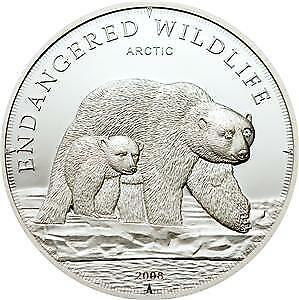 Cook Islands 2008 $5 Endangered Wildlife Arctic Ice Bears 25 g Silver Proof Coin