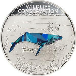 Cook Islands 2013 Wildlife Conservation - Prism Humpback Whale Silver Proof Coin