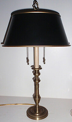Vintage-  Solid Brass Wildwood Table/Desk  Library Lamp with Black & Gold Shade
