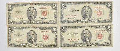 Lot (4) Red Seal $2.00 US 1953 or 1963 Notes - Currency Collection *532