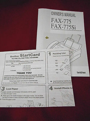 Brother Fax 775 775Si Fax Machine Owner's Manual w Easy Start Up Startcard