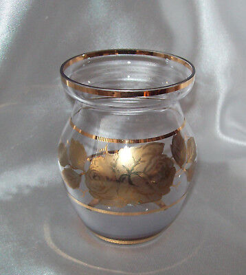 Very Fine Elegant & Classy Glass 10cm Vase Frosted Base & Gold Gilt Roses Vase