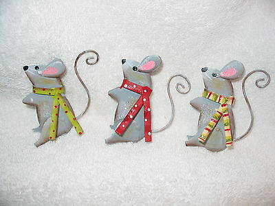Mouse - Set of 3 Mice Metal Ornaments - Pet Decor Scarf Standing Fairy tale NEW