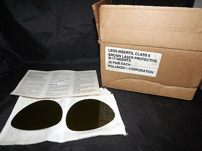 M-17 Chemical Bio agent Gas Mask Brown Laser Protective Eye Lens Inserts New