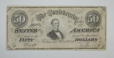 1864 $50 Confederate States of America Note - Civil War Era *3657