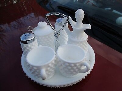 Fenton Hobnail Milk Glass Condiment Set Tray, Cruet, sugar& creamer, Mustard
