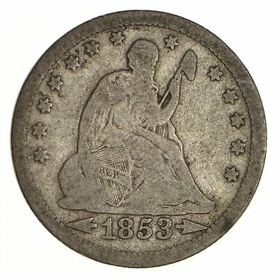 TOUGH - 1853 Seated Liberty Quarter - Early US Type Coin - Historic *522