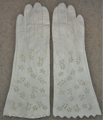 VTG White Floral Leather Gloves Dress Driving Long Wrist Length Cut Out Flower 7