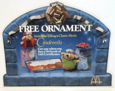 DISNEY McDONALDS PLASTIC COUNTER AD CINDERELLA ORNAMENTS & GIFT CERTIFICATES