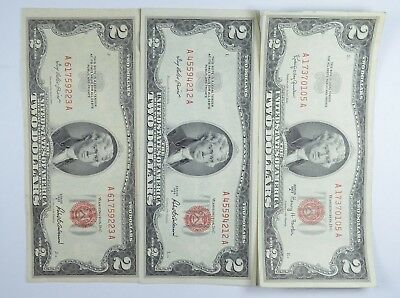 Lot (3) Red Seal $2.00 US 1953 or 1963 Notes - Currency Collection *074